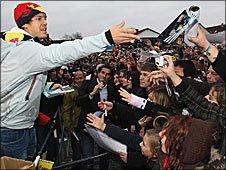 Sebastian Vettel meets the fans in Heppenheim