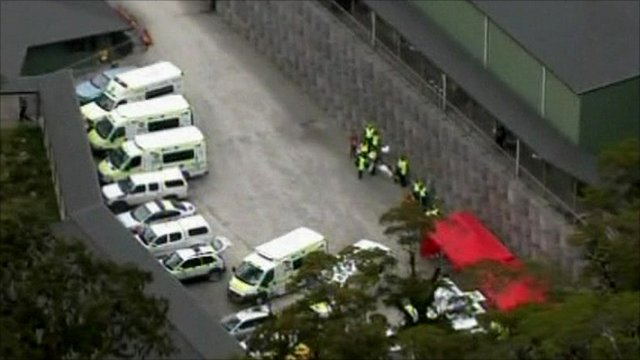 Emergency vehicles at the New Zealand mine explosion