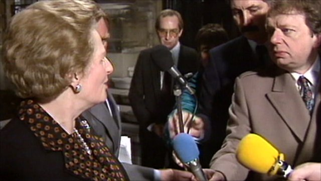 Margaret thatcher and John Sergeant in 1990