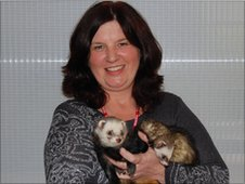 Karen and two of the ferrets