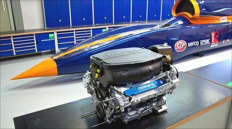 The Cosworth Formula One engine next to th Bloodhound.