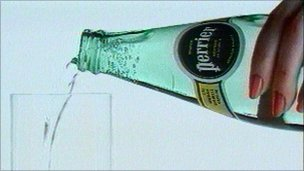 Perrier being poured into a glass