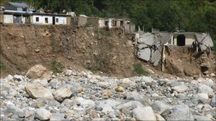 Destruction caused by floods in the Karora area