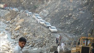Damaged road in northern Pakistan