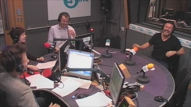 Ricky Gervais and Richard Bacon in the 5 live studio