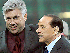 Carlo Ancelotti (left) with Silvio Berlusconi