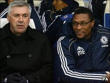 Chelsea manager Carlo Ancelotti (left) with new assistant Michael Emenalo