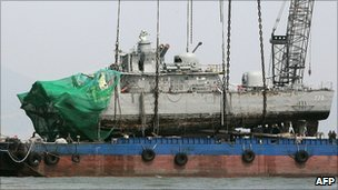 The Cheonan is lifted from the sea in April 2010