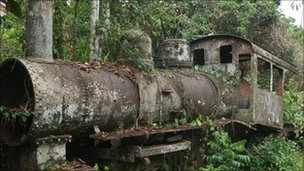 Rusting locomotive in Porto Velho