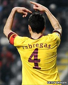 Cesc Fabregas signals to the bench