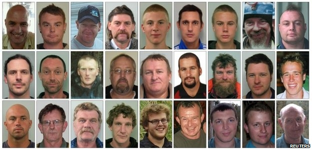 The miners are (top row L to R) Conrad John Adams, 43, Malcolm Campbell, 25, Glen Peter Cruse, 35, Allan John Dixon, 59, Zen Wodin Drew, 21, Christopher Peter Duggan, 31, Joseph Ray Dunbar, 17, John Leonard Hale, 45, Daniel Thomas Herk, 36, (second row L to R) David Mark Hoggart, 33, Richard Bennett Holling, 41, Andrew David Hurren, 32, Jacobus (Koos) Albertus Jonker, 47, William John Joynson, 49, Riki Steve Keane, 28, Terry David Kitchin, 41, Samuel Peter McKie, 26, Michael Nolan Hanmer Monk, 23, (bottom row L to R) Kane Barry Nieper, 33, Peter O&quot;Neill, 55, Milton John Osborne, 54, Brendan John Palmer, 27, Benjamin David Rockhouse, 21, Peter James Rodger, 40, Blair David Sims, 28, Joshua Adam Ufer, 25 and Keith Thomas Valli, 62