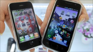 An iPhone and Samsung Galaxy smartphone