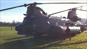 BBC News  RAF Chinook Lands In Worcestershire Field After Alert