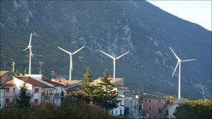 The wind turbines at Tocco Da Casauria