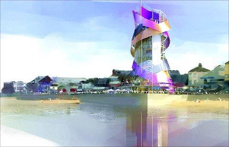 Artist's impression of Redcar's vertical pier