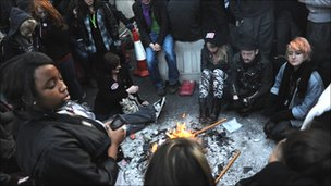 Demonstrators lit fires to stay warm