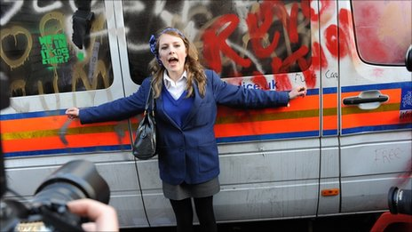 A south London pupil protecting a police van