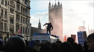 The attacked police van in Whitehall
