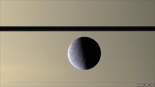 Rhea pictured in front of Saturn (Nasa/JPL/SSI)