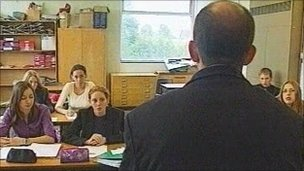 male teacher in class
