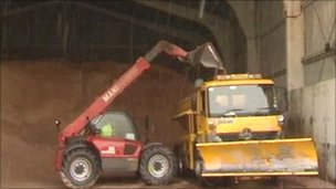 Snow plough being loaded