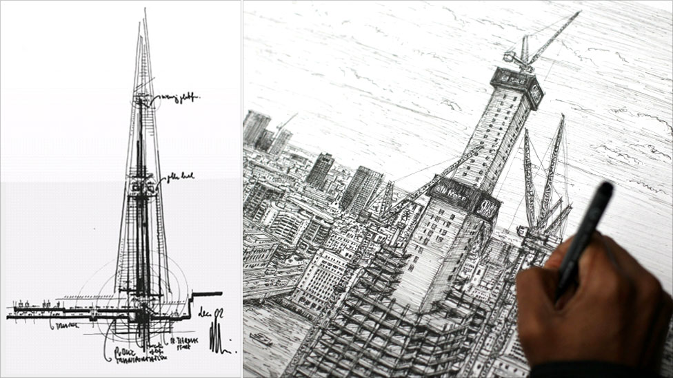 Early Concept Drawing Of Shard And A Recent Sketch By Artist Stephen Wiltshire
