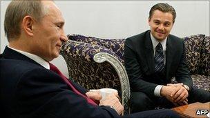 Vladimir Putin and Leonardo DiCaprio