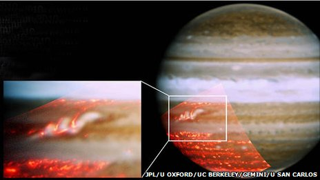 Jupiter's returning stripe highlighted (JPL, University of Oxford, UC Berkeley, Gemini Observatory, University of San Carlos)