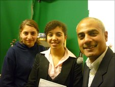 George Alagiah with School Reporters from Prior's Field School