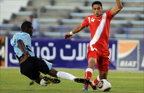 Dipsy Selolwane of Botswana in action against Tunisia