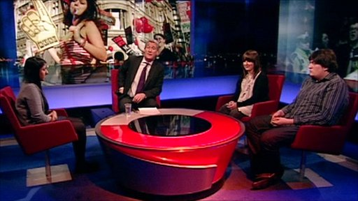 (left to right) Shamima Blake, Jeremy Paxman, Sophie Janssen and Oliver Carter