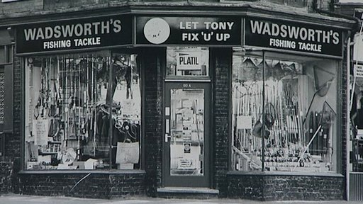 Wadsworth's Fishing Tackle shop in 1977 on Narborough Road in Leicester