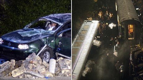 Vehicle crash and rail crash