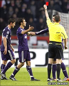 Xabi Alonso (left) was the first Madrid player sent off