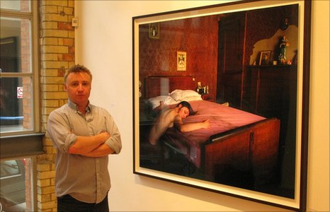 Tom Hunter, pictured by his Death of Coletti at Purdy Hicks Gallery, November 2010