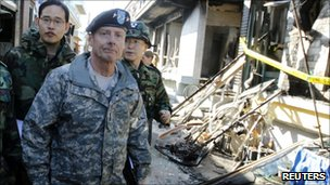 US Gen Walter Sharp on Yeonpyeong island, 26 Nov