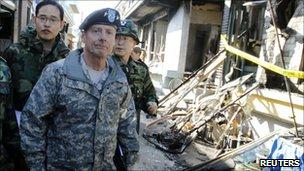 US Gen Walter Sharp on Yeonpyeong island, 26 Nov