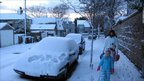 Nina Harrower, with Jenny, five, and Kirsty, four in Aberdeen snow