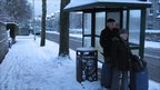 People at bus stop in Aberdeen