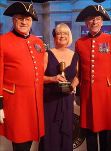 Brenda with pensioners Michael Allen and Malcolm Smart