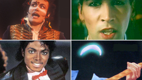 Clockwise from top left: Adam Ant, Phil Oakey, Mark Knopfler and Michael Jackson