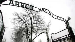 File photo of Arbeit Macht Frei sign at Auschwitz concentration camp in Poland - 26 January 2005