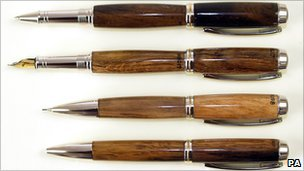 The pens are made of wood found from the wreck site but are not believed to have been from the ship