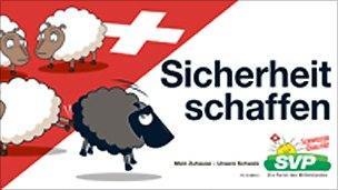 Poster put out by Swiss People's Party. It reads: Create security.