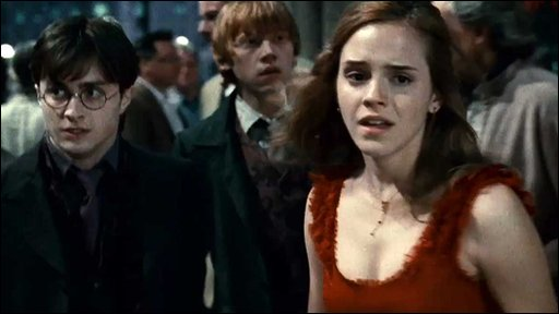 Daniel Radcliffe, Rupert Grint and Emma Watson as Harry Potter, Ron Weasly and Hermione