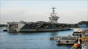 USS George Washington aircraft carrier leaves for joint military drills with South Korea on 24 November 2010