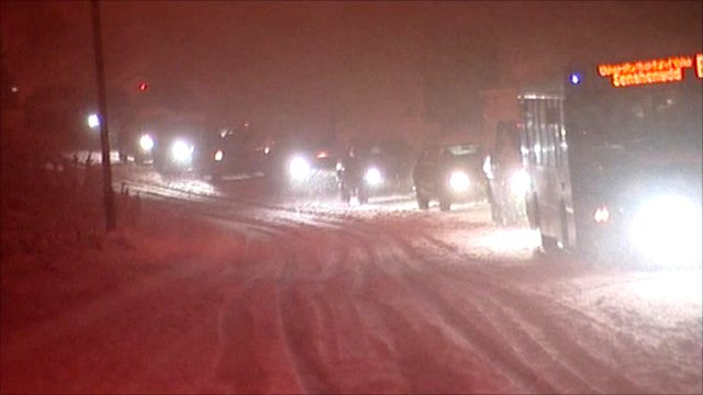 Traffic in heavy snow in South Wales