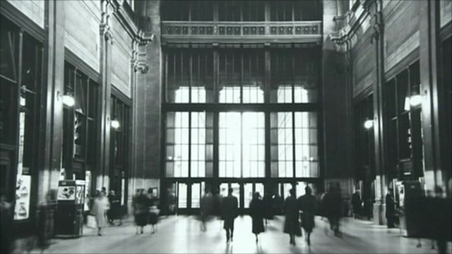 Black and white image of the original Penn Station building