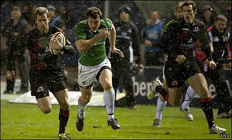 Chris Paterson races in to score a try