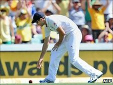 The crowd reacts after James Anderson drops Brad Haddin